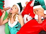 Watch this hot ass teen fucking duo get fucked hard against the christmas tree